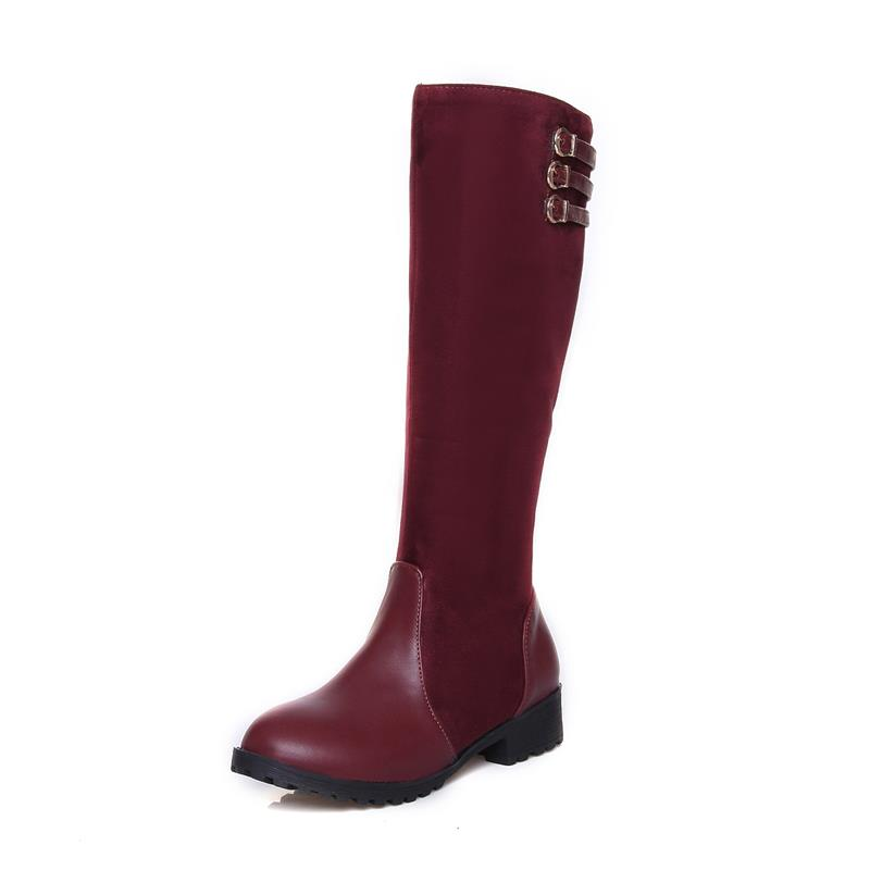 MoonMeek New arrival popular many colors knee high boots round toe thick low boots sexy soft + flock leather women winter boots