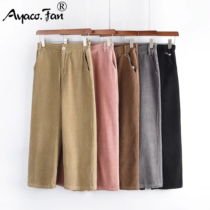 New Women's   Pants   Women Autumn Winter Solid High Waist   Wide     Leg     Pants   Casual Loose Corduroy Cropped Ankle-Length Trousers