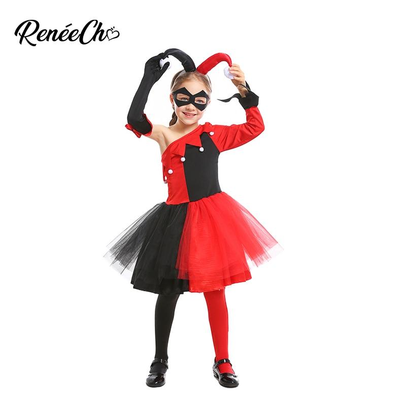 Filles Harlequin Jester Costume Evil Clown Teen Halloween Fancy Dress Outfit