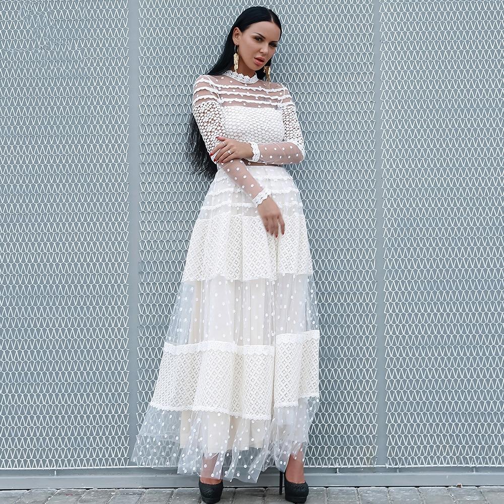 2018 mode longue robe sexy femmes col roulé pleine purée voir-quoique dentelle vintage célébrité corps con robes de fête en gros