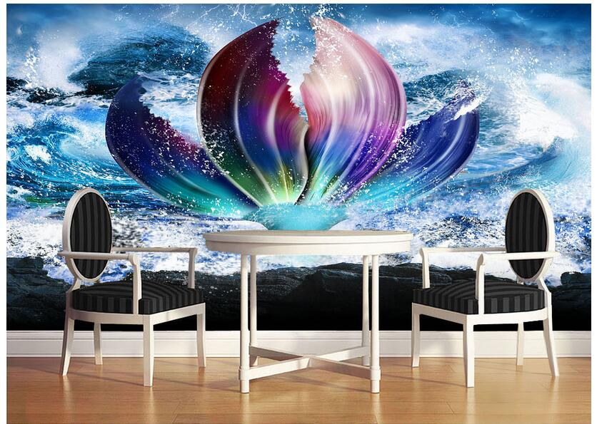 3d Wallpaper Custom Photo Non Woven Mural Wall Stickers 3 D The Little  Mermaid Tail