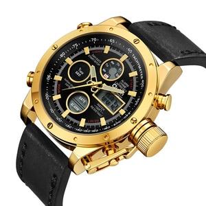 Image 4 - Oulm 新デュアルディスプレイスポーツは、男性の高級ブランドの本物のレザーストラップ腕時計 LED カレンダー多機能クォーツ時計