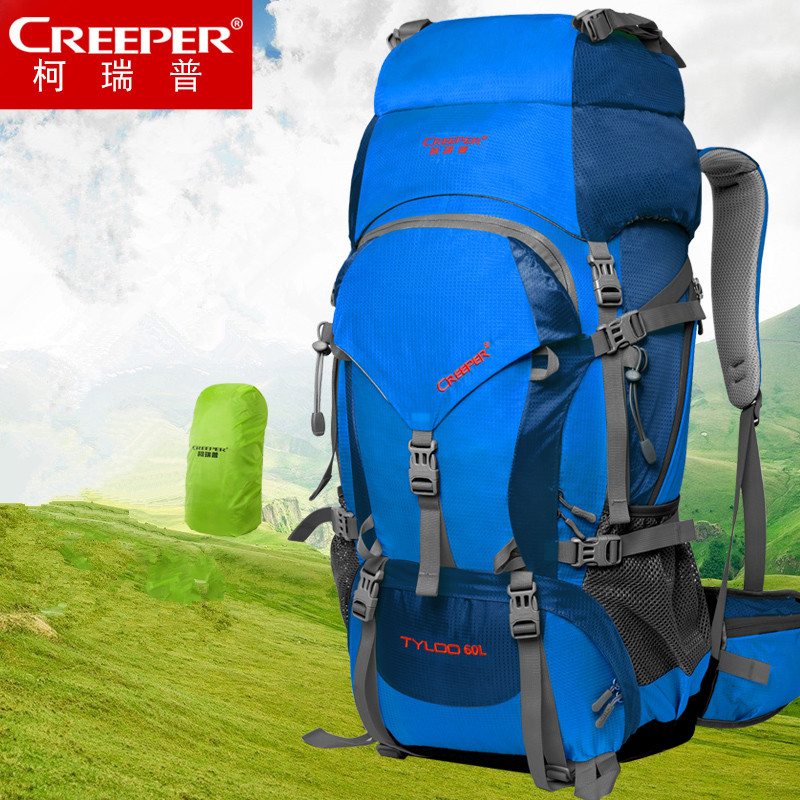 CREEPER Hiking Backpack 60L Outdoor Sport Travel Walking Bag Rucksack Trekking Mountaineering Rain Cover Daypack