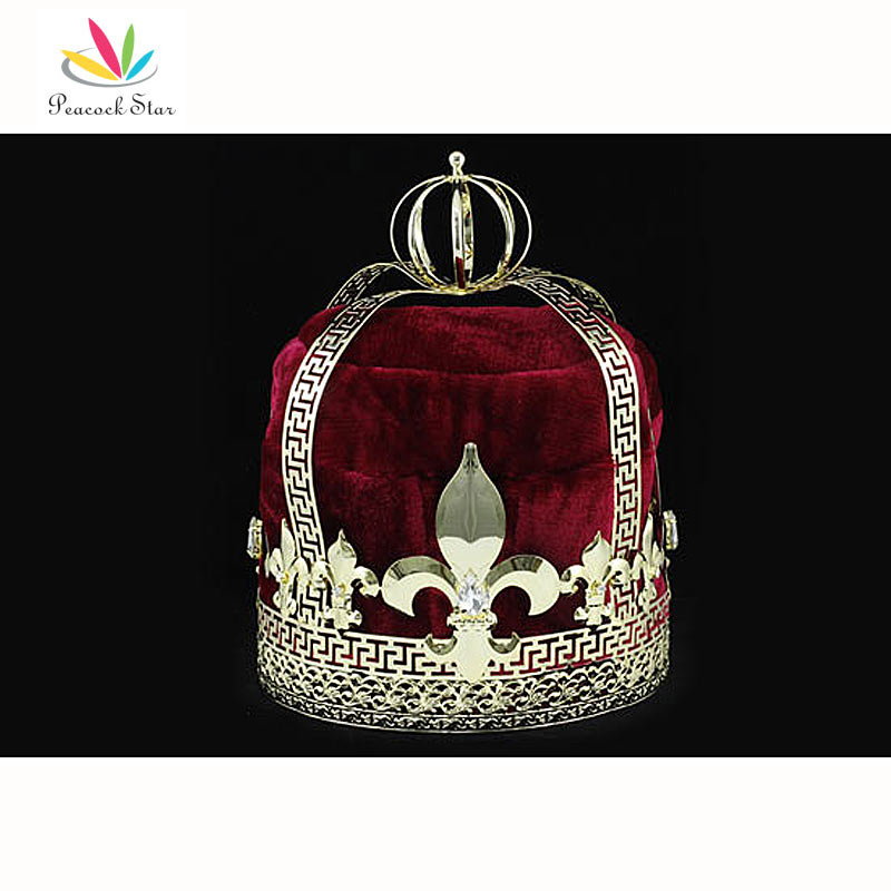 Peacock Star Men s Homecoming Gold King Crown Pageant Burgundy Red Velvet Deluxe Imperial Medieval CT1728