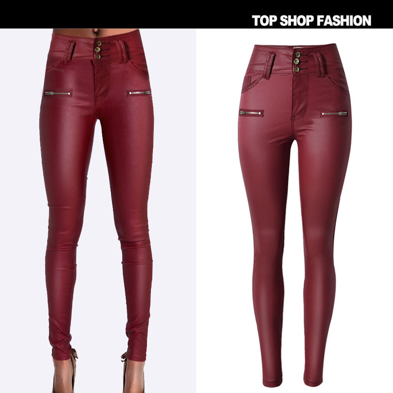 ФОТО New Arrival 2017 Spring Woman Jeans Plus Size Stretch High Waist Jeans Wine Red Color Denim Pants Button Zipper Jeans For Women