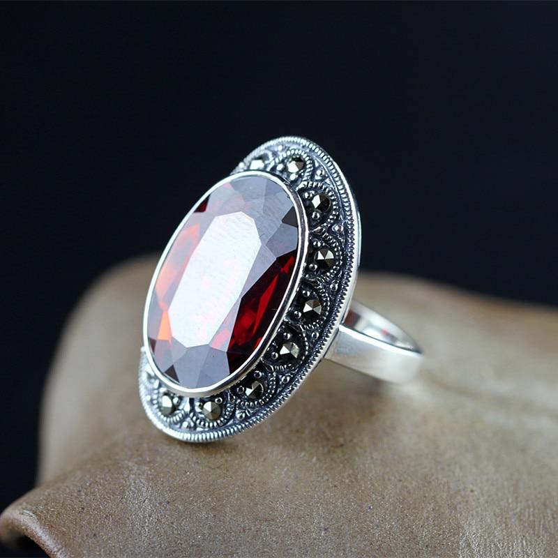 KJJEAXCMY Thai silver handmade s925 inlaying drop type garnet fashion personalized finger ring