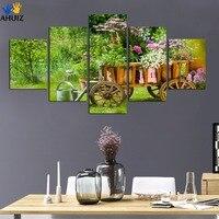 Ad alta definizione rurale fiori freschi verde foglia immagine tela pittura di arte poster da parete per cucina sitting room unframed FA160