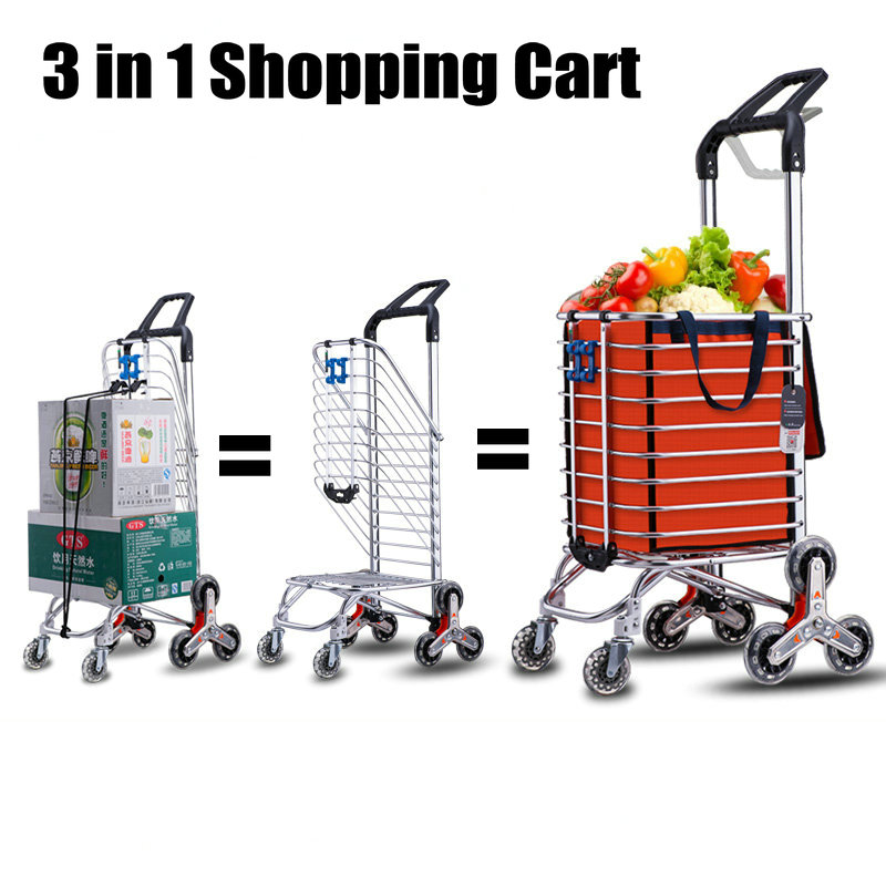 Household Trailer, 35L Portable Shopping Cart With 8 Wheels, Foldable Trolly With Aluminum Alloy Frame, 3 In 1 Luggage Frame