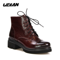 LIDIAN B69 Brown Two tone Polish toe and back women ankle leather boots oil leather warm lining lace up shoes