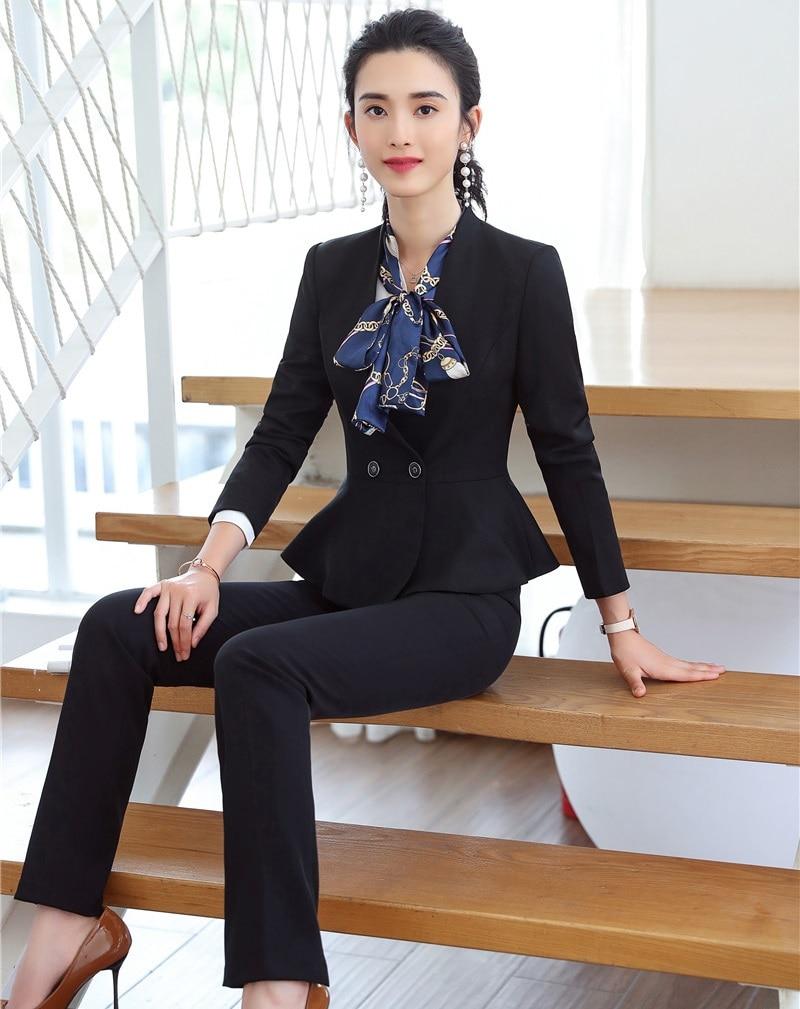 d8e3468823a9 Di Pantalone Con Elegante Tailleur Grigio Pantaloni Disegni Ufficio  Giubbotti navy Grey Formale Uniforme Affari E Donne ...