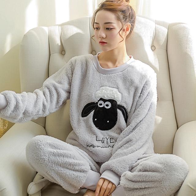 2017 Autumn Winter Women Pajamas Set Sleep Jacket Pant Sleepwear Warm Nightgown Female Cartoon Bear Animal Pants Sleepwear