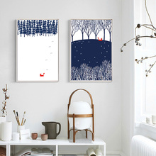 Nordic Forest Fox Canvas Painting Animal Posters Prints Pop Scandinavia Wall Art Pictures for Kids Room Home Decor Unframed