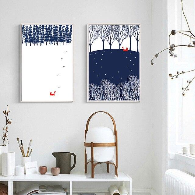 Skandinavische Poster nordic wald fox leinwand malerei tier poster druckt pop skandinavien