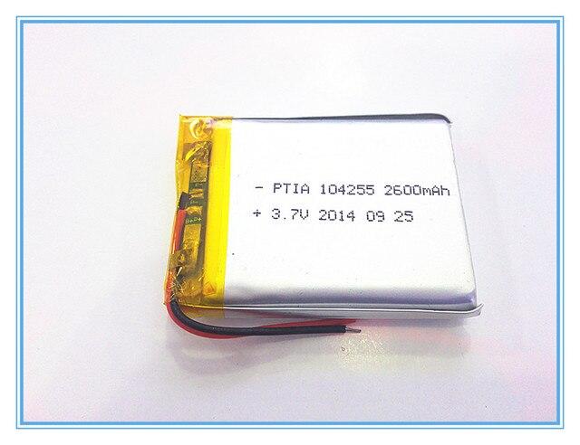 Free shipping 3.7 V lithium polymer battery 2600 mah 104255 mobile power supply tablet GPS navigator