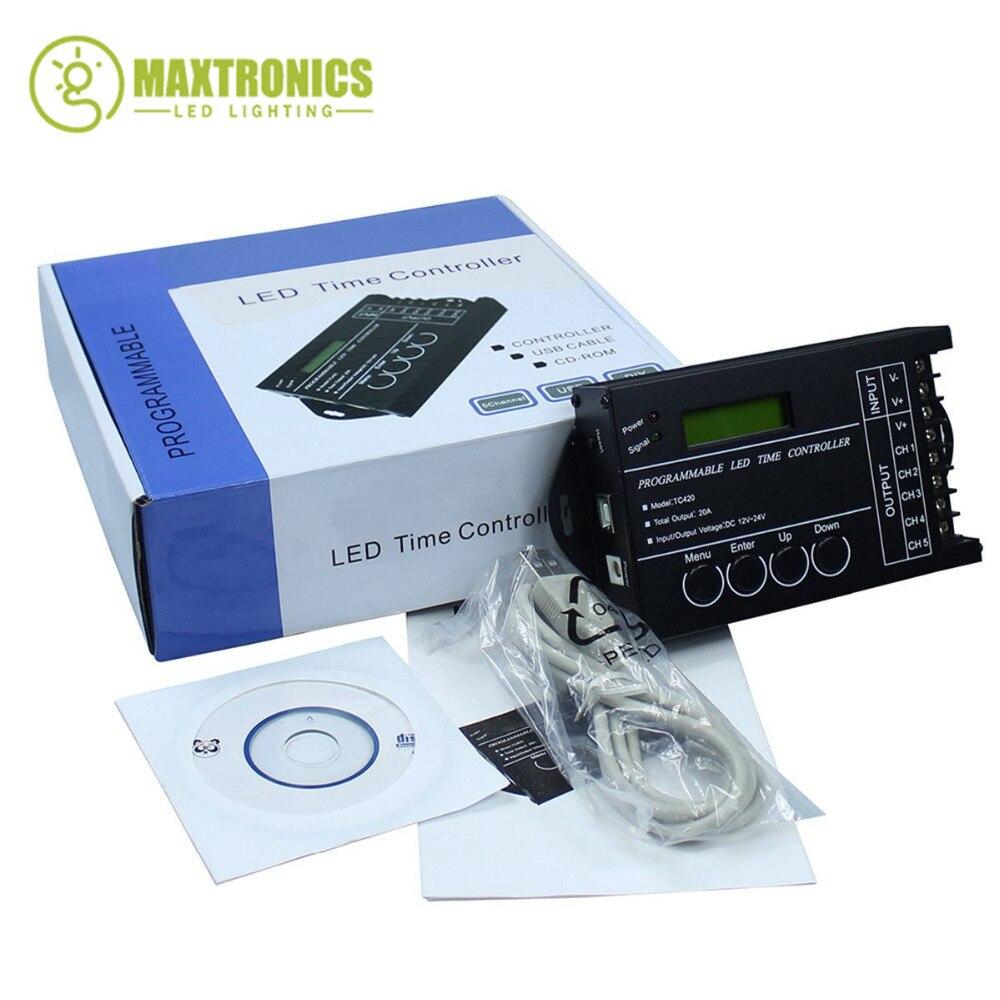 RGB LED Contrôleur Temps programmable TC420 DC12V/24 V 5 5channel Sortie Totale 20A Anode Commune Programmable Livraison Gratuite