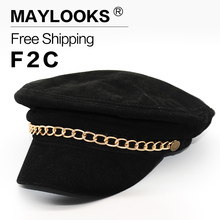 2018 Real Gorras Maylooks Fashion Genuine Leather Woman's Brand Berets Men's Reversed Hair Adult Solid Hats Caps For Women Cs44