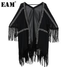 ネック三分袖黒タッセル釘付けサイズシフォンドレスの女性のファッション潮 V 2019 JU921