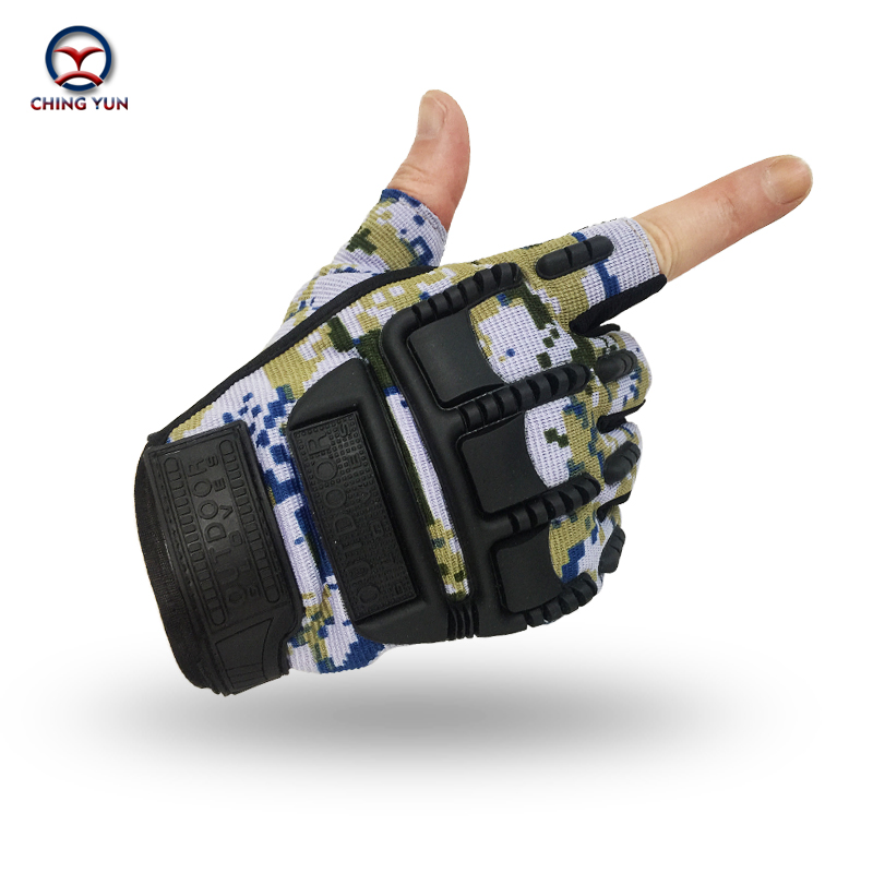 CHING YUN Tactical Gloves Wear-resisting Male Camouflage  Semi-finger gloves Protective Ride Non-slip Fighting Mitts Man