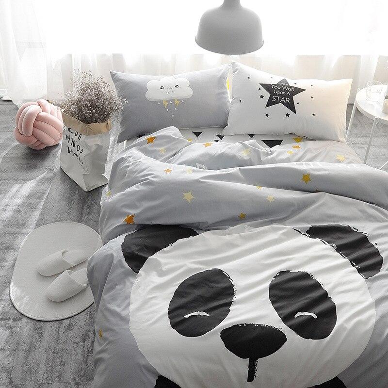 Modern Chidren White Panda on Gray Bedding Set 100% Cotton Bed Line for Adult/kid Include Duvet Cover Flat Sheet 2pcs Pillowcase