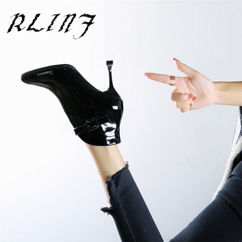 Estilo Stiletto Punta Rlinf Nuevo Botas Cinturón blanco Cortas Hebilla De Negro Tacón Alto Británico Mujer dxXqXrz