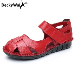BeckyWalk Cow Leather Women Sandals Summer Shoes Women Comfortable Closed Toe Flat Sandals for Mother Sandalias Mujer WSH2992 1