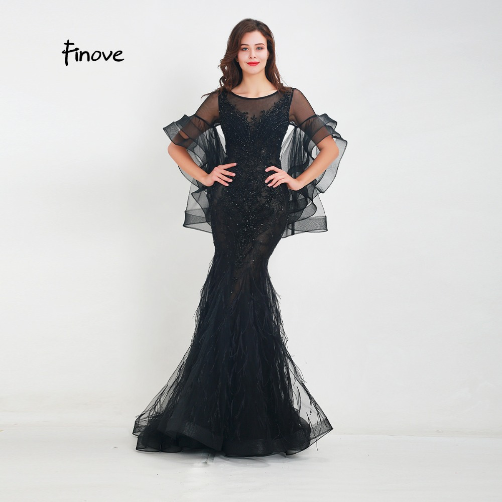 Finove Evening Dress 2019 New Design Elegnat Black Mermaid Ruffles Sleeves FeathersBeading Embroidery Floor Length Party