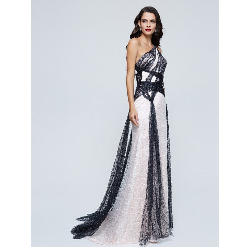 TS A Line One Shoulder Sweep   Brush Train Sequined Formal Evening Dress  with Pleats Sequins-in Evening Dresses from Weddings   Events on  Aliexpress.com ... d0026019fcd6