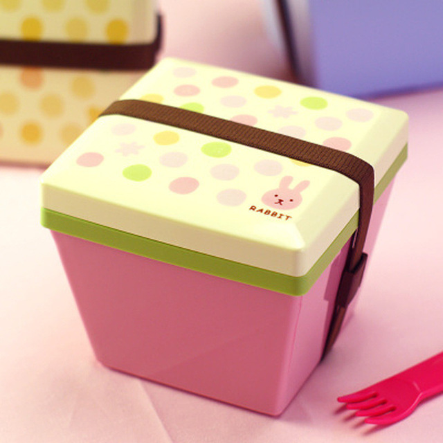 Cute Candy color Lunch box Dinnerware Food Container Bento Japanese style Double Bucket Shaped bowls For Children C