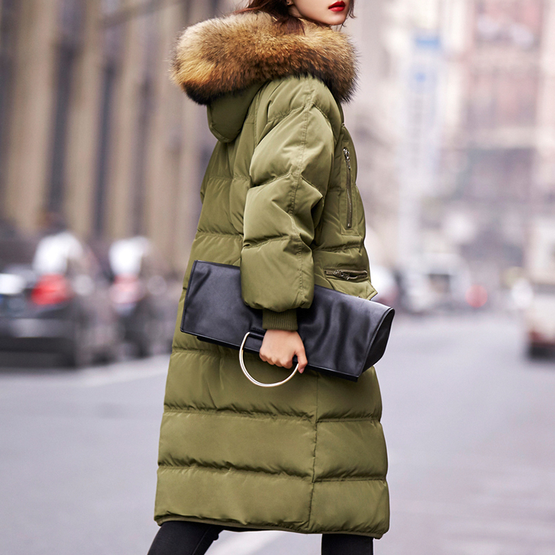 Korean woman natural genuine fur collar long loose design female thick down coat with a hood batwing sleeve army green black xxl