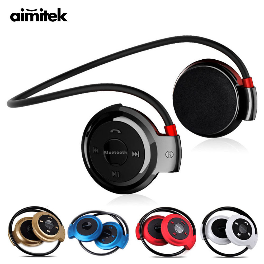 Aimitek Sport Wireless Bluetooth Headphones Stereo Earphones Mp3 Music Player Headset Earpiece Micro SD Card Slot Handsfree Mic original f5 sports bluetooth headset sd card slot auriculares music headphones mic ipx4 wireless earphones fm radio mp3 player