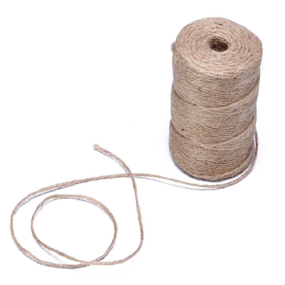 50 Meters 3 Ply 100/% Natural Jute Hessian Burlap Twine String Cord