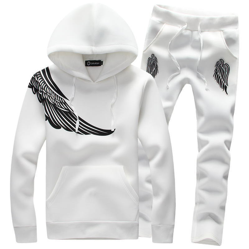 ФОТО Hot!pullover Eagle wings printed men's sportswear suit black hoodie tracksuit mens hoodies sweatshirts+pants men Running Sets