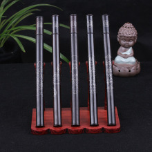 Ebony inlay silver Buddha coins goddess ebony sweet barrels a day fragrance of sandalwood incense cylinder