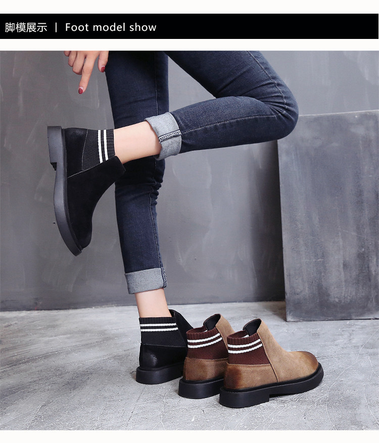 The new autumn 2018 Martin boots flat short tube with restoring ancient ways round head women's boots 43