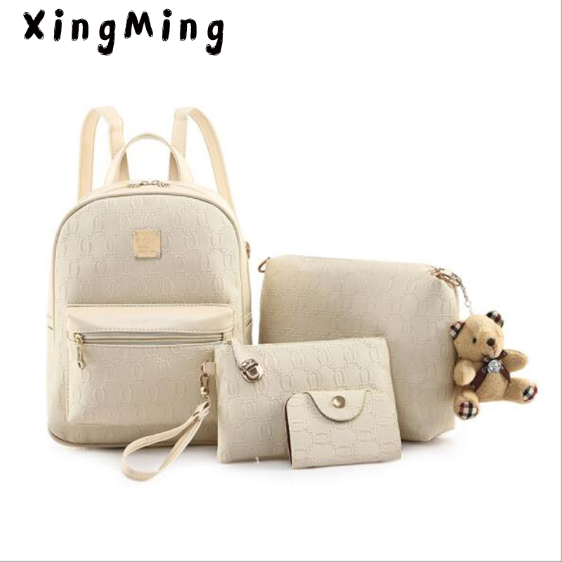 XINGMING Fashion Composite Bag Pu Leather Backpack Women Cute Bear Set Shoulder Bags School Backpacks For Teenage Girls Cardbags 4pcs set women fashion backpack pu leather teenage school bag casual clutch crossbody travel bags for girls with purse and bear