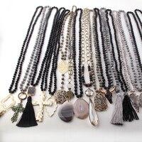 Wholesale MOODPC Fashion Mix Color Black Necklace Handmade Women Jewelry 20pc