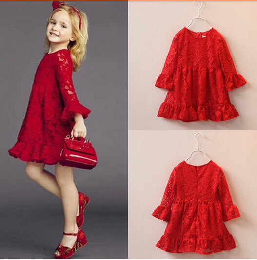 Kids Children Dresses Red Soft Lace Hollowed-Out Dresses Cotton  Princess Dresses Sleeveless Girl Clothes Spring Autumn