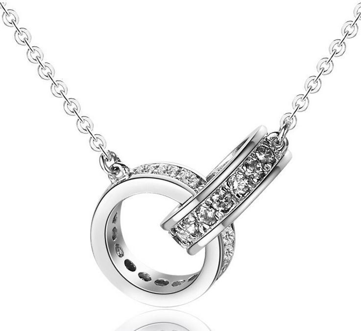 2016 new design double circle fashion crystal 925 sterling silver short chain necklaces jewelry wholesale price