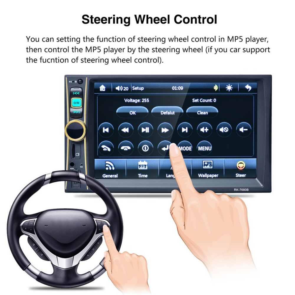 6.6inch Car Radio Player Stereo MP5 Car Audio Bluetooth USB Aux TF In-Dash FM Auto Radio With Rear View Camera Remote Control vodool 2din bluetooth in dash 7 1080p car stereo mp5 player fm radio with rear view backup camera reversing display monitor kit