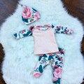 2016 Осень девочка одежда 3 шт. костюмы С Длинным рукавом + Цветочные Леггинсы + Шляпа 3 шт. костюм Новорожденного младенческая baby девушки одежда наборы