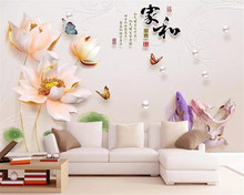 beibehang Custom wallpaper mural embossed lotus fish butterfly bTV background wall Photo wallpaper papel de parede 3d wallpaper(China)