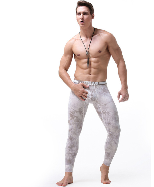 Men Thermal Underwear Long Johns Tie Dye Printed Mens Leggings Hombre Sexy U Pouch Youth Tight Thermal Clothing Cotton Winter