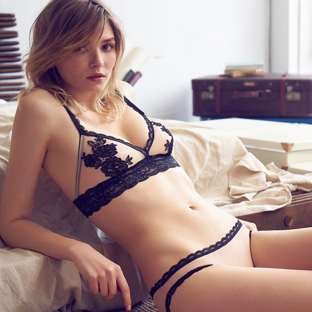 b21ed2721 water soluble embroidery thin transparent unlined steel ring free sexy lace  bra set balaloum underwear set
