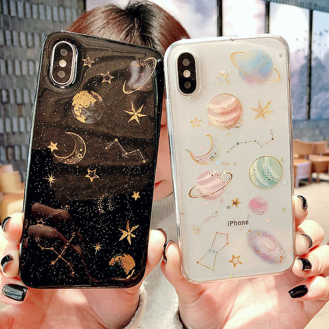 Luxe Glitter Leuke Space Planeet Telefoon Case Voor iPhone XS 7 8 Plus Clear Zachte Siliconen Star Back cover Voor iPhone 6 6 s 7 Plus