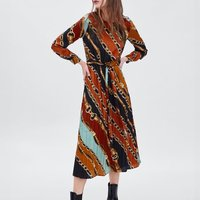 2018 za WINTER Women chain print dress za scarf print dresses vestidos Women Flowing collared LONG dress with sleeveve stidos