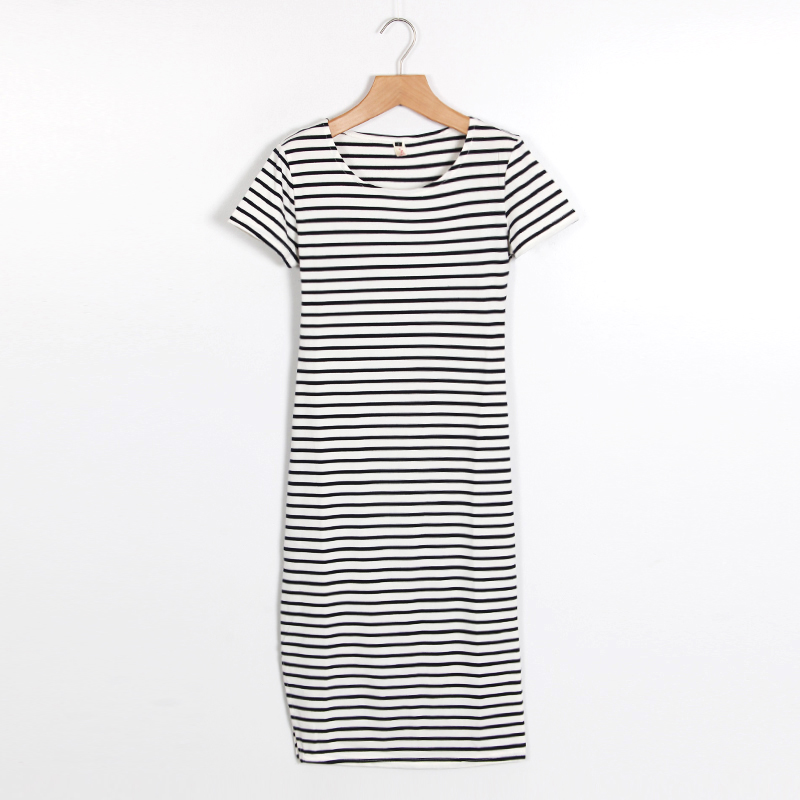 Casual Summer Women Dress Short Sleeve Round Neck Slim Fit Bodycon Dress Striped Side Split T Shirt Womens Dresses LJ3904R 3