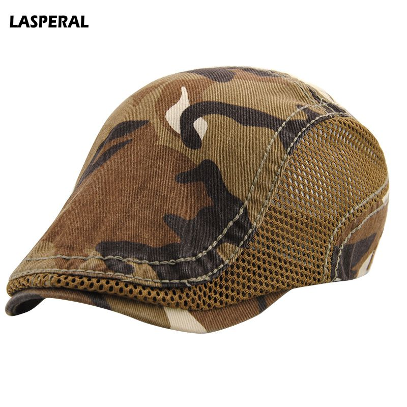 LASPERAL Casual Unisex Beret Hat Camouflage Duckbill Casquette Boina Buckle Visors Golf Driving Flat Detective Hat Casquette Cap