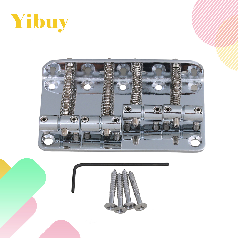 Yibuy Chrome 4 String Vintage Bass Bridge For Electric Bass Guitar a set chrome vintage shape saddle bridge for 5 string electric bass guitar top load or strings through body