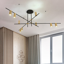 BOKT Contemporary Minimalist light Kitchen Island Ceiling Lamp Geometric Modern Linear Chandelier Lighting Fixture Living room