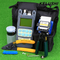 KELUSHI 9pcs/set FTTH Tool Kit with FC-6S Fiber Cleaver and Optical Power Meter 10mW Fiber Optic Stripper Tools